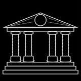 Силуэт здания с 4 столбцами Пробел для дизайна также вектор иллюстрации притяжки corel Стоковые Фото