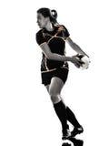 Силуэт игрока женщины рэгби Стоковое Изображение RF