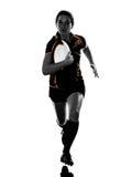 Силуэт игрока женщины рэгби Стоковая Фотография RF