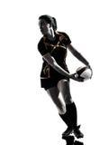 Силуэт игрока женщины рэгби Стоковые Фото