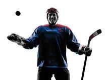 Силуэт игрока человека хоккея на льде Стоковое Изображение RF
