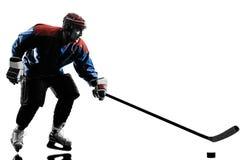 Силуэт игрока человека хоккея на льде Стоковое Изображение