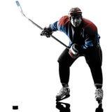 Силуэт игрока человека хоккея на льде Стоковая Фотография