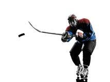 Силуэт игрока человека хоккея на льде Стоковые Фотографии RF