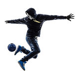 Силуэт игрока freestyler футбола молодого человека Стоковая Фотография