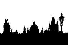 Силуэт изолированный на белизне, Прага Карлова моста Стоковые Изображения RF