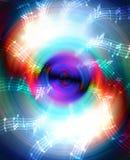 Силуэт диктора музыки тональнозвуковых и примечания, абстрактной предпосылки, светлого круга нот иллюстрации электрической гитары Стоковая Фотография
