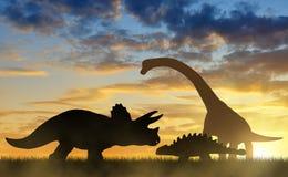 Силуэт динозавров Стоковые Изображения RF