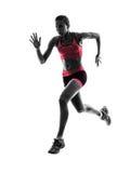 Силуэт идущего jogger бегуна женщины jogging Стоковые Изображения