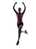 Силуэт идущего jogger бегуна женщины jogging Стоковое Изображение RF
