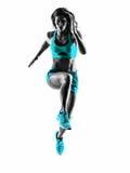 Силуэт идущего jogger бегуна женщины jogging Стоковое фото RF