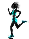 Силуэт идущего jogger бегуна женщины jogging стоковое изображение
