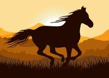 силуэт иллюстрации лошади идущий иллюстрация вектора