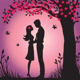 Силуэт иллюстрации черный любовников обнимая на белой весне Сакуре просмотра цветка предпосылки Стоковое Изображение RF
