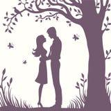 Силуэт иллюстрации черный любовников обнимая на белой предпосылке Стоковая Фотография