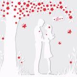 Силуэт иллюстрации черный любовников обнимая на белой предпосылке Стоковое Фото