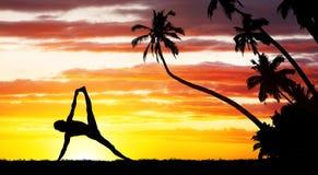 Силуэт йоги Стоковые Изображения