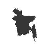 Силуэт карты Бангладеша Стоковые Фото