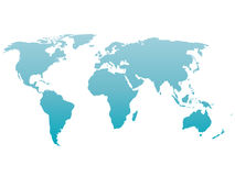 Силуэт карты мира Градиент вектора голубой изолированный на белой предпосылке Стоковое Изображение RF