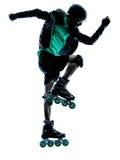 Силуэт конькобежца ролика человека встроенный Стоковое Изображение