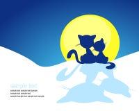 Силуэт кота в заходе солнца зимы - векторе Стоковые Изображения RF