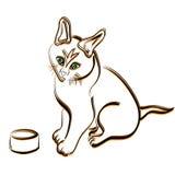 Силуэт кота законспектированный Стоковые Изображения