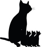Силуэт кота Стоковые Фото