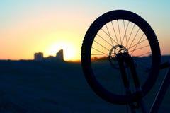 Силуэт колеса велосипеда на заходе солнца Стоковые Фото