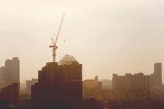 Силуэт крана башни Стоковые Фото