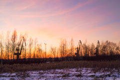 Силуэт крана башни Стоковая Фотография