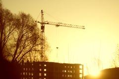 Силуэт крана строительной площадки Стоковая Фотография RF