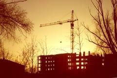 Силуэт крана строительной площадки Стоковое Изображение