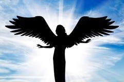 Силуэт красивого ангела в рае Стоковое Изображение