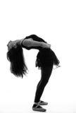 Силуэт красивого женского артиста балета Стоковое Изображение