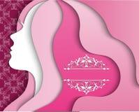 Силуэт красивой женщины с длинными волосами Стоковое Изображение