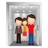силуэт красочный с людьми в лифте Стоковые Изображения RF