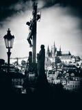 Силуэт креста Голгофы Стоковые Фотографии RF