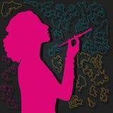 Силуэт курить женщины Стоковые Фотографии RF