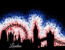 Силуэт Лондона Англии Стоковая Фотография RF