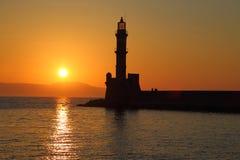 Силуэт маяка на заходе солнца Стоковое Изображение RF