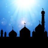 Силуэт мечети с Sunburst Стоковые Фото