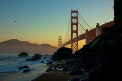 Силуэт моста золотого строба Стоковая Фотография