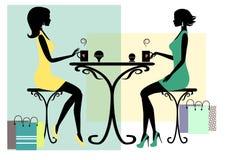 Силуэт 2 модных женщин покупок иллюстрация штока