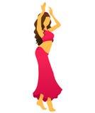 Силуэт молодой женщины показывая танец живота иллюстрация штока