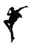 Силуэт мужского танцора Стоковое Изображение