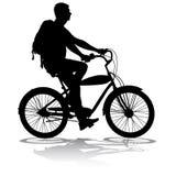 Силуэт мужчины велосипедиста также вектор иллюстрации притяжки corel Стоковая Фотография RF