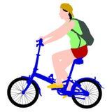 Силуэт мужчины велосипедиста Стоковая Фотография