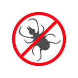 Силуэт насекомого тикания Значок тиканий оленей лепты Опасный черный паразит Запрет отсутствие предупредительного знака стопа сим Стоковые Фото