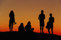 Силуэт на заходе солнца Стоковое Фото