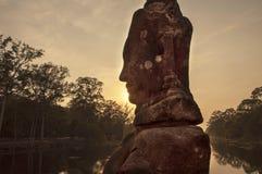Силуэт на заходе солнца Стоковая Фотография